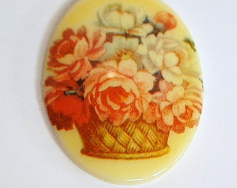 Vintage Glass Cabochon Basket of Peony Flowers 40x30mm cab680B