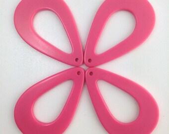 Vintage Lucite Salmon Pink Tear Drop Hoop Pendants (4) hps054C