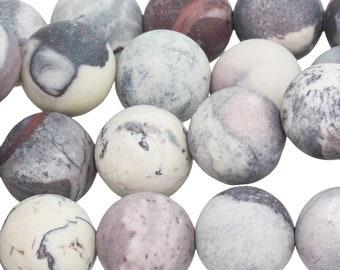 "Dakota Stones Matte Porcelain Jasper 10mm Round Gemstones. 8"" Strand. PCL10RD-M-8"