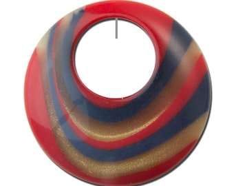 Vintage Red W/ Gold and Blue Swirled Lucite Hoops Pendants (2) hps089F