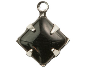 Opaque Black Square Glass Stones 1 Loop Silver Plated Setting 8mm (6) squ008KK