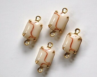 Vintage Opaque beige Stones with Brown 2 Loop Brass Setting 10mm x 8mm squ003Q2