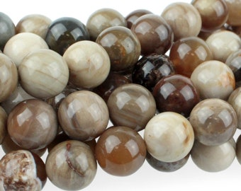 "Dakota Stones Wood Opalite 10mm Round Gemstones 8"" Strand WOP10RD-8"