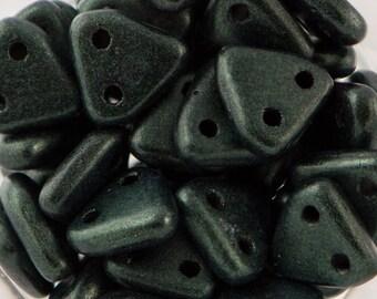 Metallic Suede Dark Forest Czech Mate Triangle Beads 6mm (50) 371-06-79052