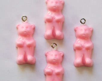 Opaque Pink Gummi Bear Charms Drops (4) chr152J