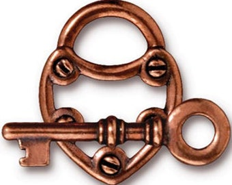 TierraCast Antiqued Copper Toggle Lock and Key Clasp Set (2) 25mm TC94-6170-18