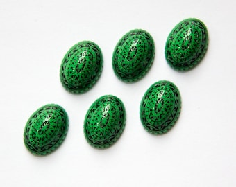 Vintage Etched Mosaic Green and Black Cabochons 14mm X 10mm cab711E