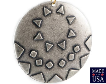 1 Hole Silver Ox Southwestern Drop / Pendant with 18mm Setting (2) mtl483B
