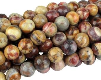 """Dakota Stones Birdseye Rhyolite 6mm Round Gemstones. 8"""" Strand. BER6RD-8"""