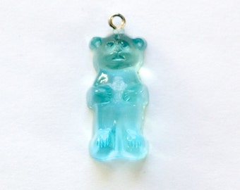Aqua Blue Gummi Bear Charm Drop (1) chr153K