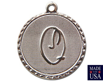 Silver Plated Letter Q Initial Charm Drop with Loop (4) chr220Q