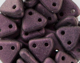 Metallic Suede - Pink Czech Mate Triangle Beads 6mm (50) 371-06-79086