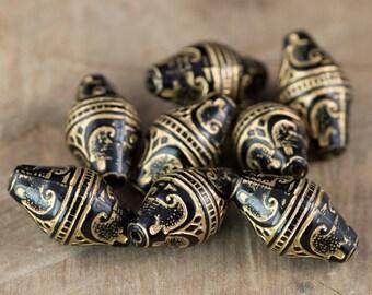 Vintage Style Jet Black Etched Gold Details Beads (8) bds575B
