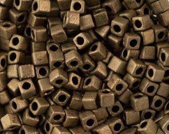 Matte Metallic Dark Bronze Miyuki Cube Seed Bead 1.8mm 8.2gm Tube SB18-2006-TB