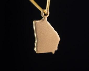 Raw Brass Tiny Georgia Blank State Charm Drops (2) chr229KK