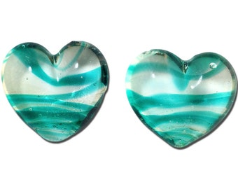 Transparent Teal Striped Glass Hearts  25x22mm (2) gyb012K