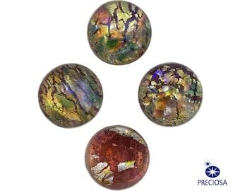 Preciosa Red Foil Opal Round Glass Cabochons 7mm (4) cab3003F