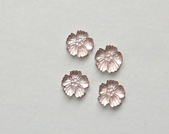Vintage Matte Light Pink Etched Glass Flower Cabochon 8mm (4) cab399