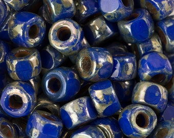 Opaque Blue Picasso Czech Matubo 6/0 Bead 4x2mm 8gm Tube MTB06C-33050-43400-TB