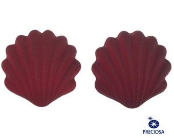 Preciosa Matte Ruby Ribbed Shell Glass Cabochons 14x13mm (2) cab870A