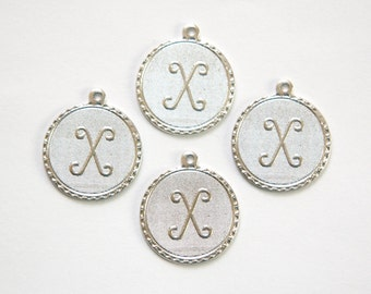 Matte Silver Plated Letter X Initial Charm Drop with Loop (4) chr196X