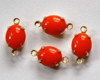 Vintage Opaque Orange Oval Stones in 2 Loop Brass Setting ovl005E2