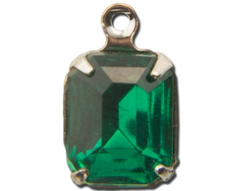 Faceted Emerald Glass Stone in 1 Loop Silver Setting 10x8mm (4) squ007LL