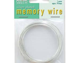 """Beadsmith Silver Plated Memory Wire 2 1/4"""" Diameter, 1 Ounce"""