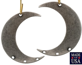 4 Hole Sterling Silver Ox Crescent BOTH Left and Right Pendant Hoops (4) mtl110E