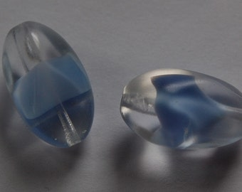 Vintage Blue Givre Pinched Twist Focal Beads bds597