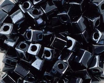Metallic Gunmetal Miyuki Cube Seed Bead 4mm 20gm Tube SB4-451-TB