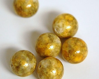 Vintage Gold Marbled Acrylic Beads 13mm bds039