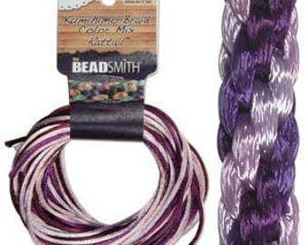 Kumihimo Rattail Color Mix Lilac, 4 Braids x 3 Yards each, 1mm Diameter