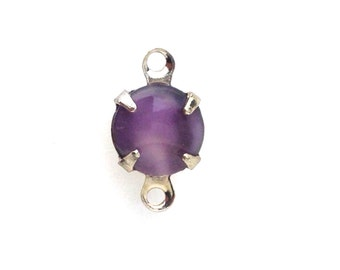 Vintage Purple Moonglow Glass Stone 2 Loop Silver Setting Drops (6) rnd003S2