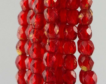 Firepolish Czech Faceted Marbled Gold Siam Ruby Glass Beads 3mm (50) 1-03-GM9010