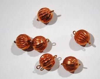 Vintage Copper Plated Acrylic Melon Bead 2 Loop Connectors drp008A