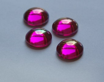 Vintage West German AB Fuchsia Rose Domed Cabochons 13mm (4) cab396E