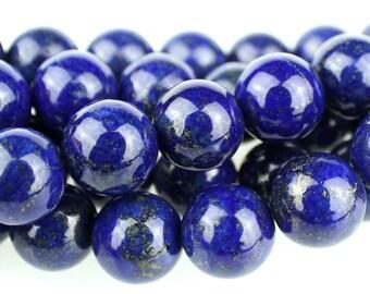 "Dakota Stones Lapis 10mm Round Gemstones. 8"" Strand. LAP10RD-8"