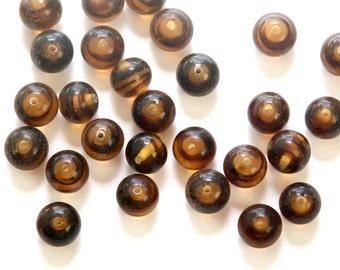 Vintage Tortoise Brown Glass Beads Japan 8mm (8) jpn003N