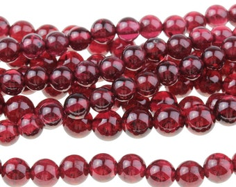 "Dakota Stones Red Garnet 4mm Round Gemstones. 8"" Strand. RGT4RD-8"