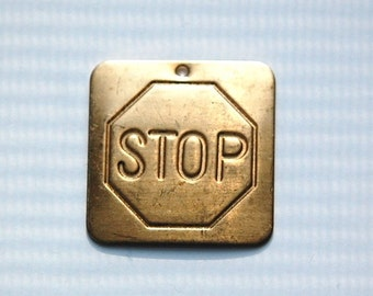 Raw Brass Stop Sign Square Charm Pendant 29mm (2) mtl064B
