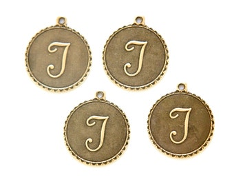 Brass Ox Letter T Initial Charm Drop with Loop (4) chr194T