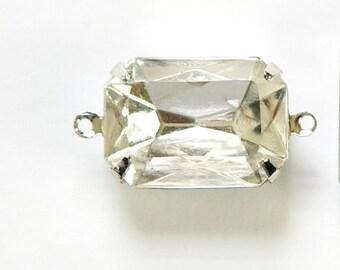 Vintage Crystal Clear Faceted Stones 2 Loop Silver Settings 18x13mm (2)  squ009D2