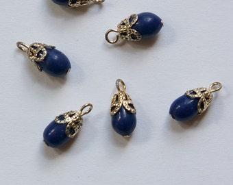 Vintage Glass Navy Blue Teardrop with Pale Gold Bead Cap Loop drp110