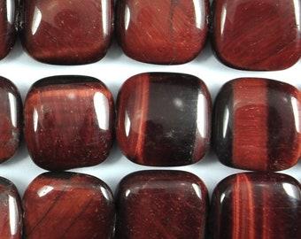 """Dakota Stones Red Tiger Eye 12mm Square Gemstones. 8"""" Strand. RTE12SQU-8"""