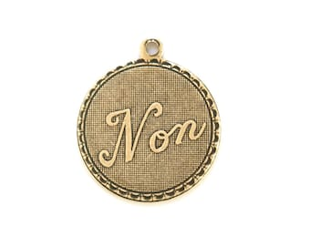 Brass Ox Non No  Word Charm Drop with Loop (1) chr195FF