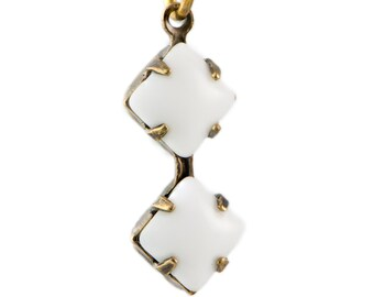 White Square Glass Stones Double 1 Loop Brass Ox Setting 6mm (4) squ014X3