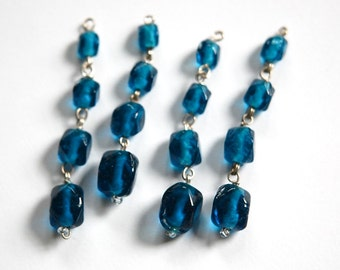 Vintage Faceted Blue Glass Drops Silver Tone Links drp107