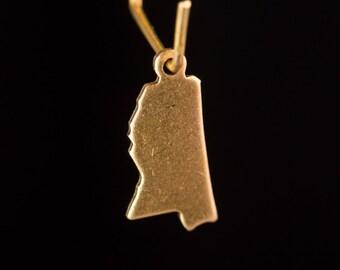 Raw Brass Tiny Mississippi Blank State Charm Drops 15x7mm (2) chr229XX