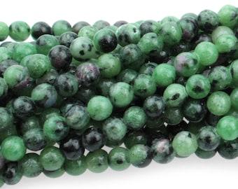 """Dakota Stones Ruby Zoisite 4mm Round Gemstones. 8"""" Strand. RBZ4RD-8"""